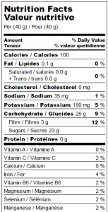 Valeur nutritive : Pommes Déshydratées