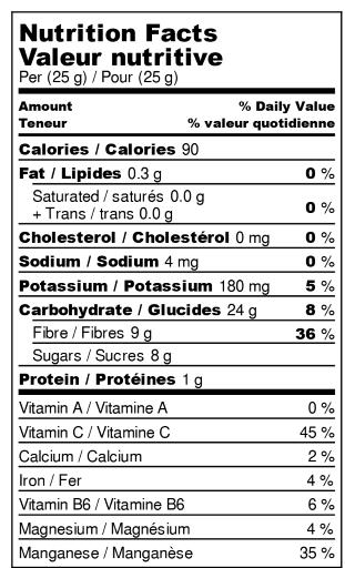 Valeur nutritive : Canneberges Déshydratées