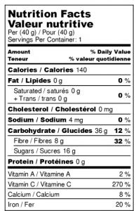 Valeur nutritive : Fraises Déshydratées