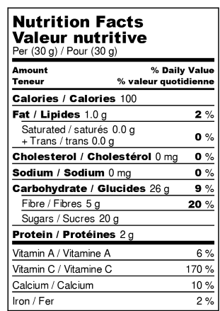 Valeur nutritive : Oranges Déshydratées