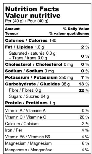 Valeur nutritive : Poires Déshydratées
